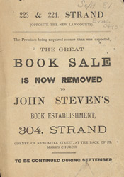 Advert For John Steven's Book Shop